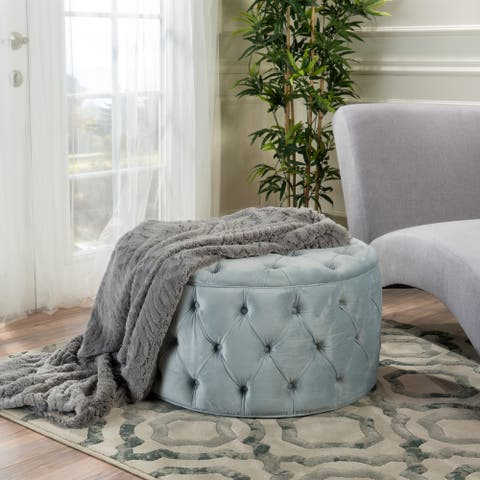 Zelfa Modern Glam Tufted Velvet Round Ottoman by Christopher Knight Home