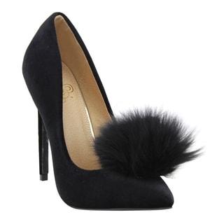 Liliana Women's EF63 Velvet Pom-pom Heels