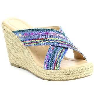Beston Women's IC50 Fabric Slide Criss-cross Platform Espadrille Wedge Sandal