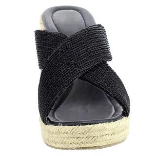 Beston Women's IC49 Criss-Cross Slide Platform Espadrille Wedge Sandal