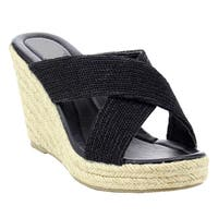 Beston Women's IC49 Criss-Cross Slide Platform Espadrille Wedge Sandal