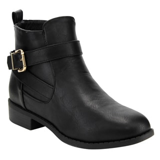 Top Moda Women's EF39 Black Faux-leather Buckled Stacked Ankle Booties with Side Zipper