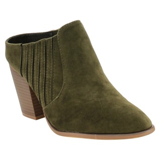 Yoki Women's EE57 High Stacked Heel Slip On Casual Ankle Bootie