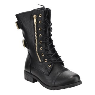 Forever IC26 Women's Lace Up Buckle Strap Zipper Mid Calf Combat Boots