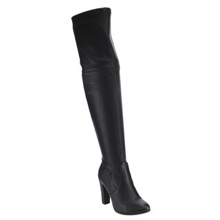Delicious IC20 Women's Black Faux Leather Drawstring Inside Zip Over-the-knee Boots