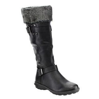 Forever Women's IC24 Buckle Strap Stud Knee-high Winter Boots
