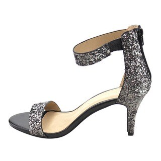 Bella Marie IC35 Women's Metallic Faux Leather Single-band Ankle Strap Heel Sandals