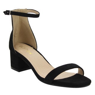 Beston Women's DE13 Faux-suede Single-band Buckle-strap Block-heel Dress-heel Ankle Sandals