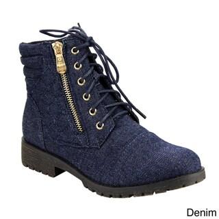 Beston Women's DE12 Quilted Lace Up Side Zipper Wallet Pocket Ankle Booties