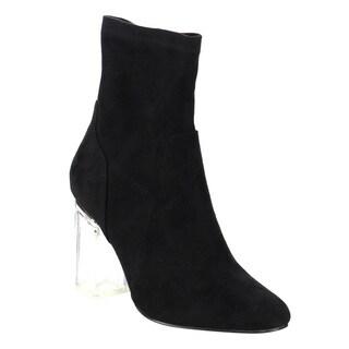 X2B Women's Black Faux Suede Clear Block Heel Dress Boot