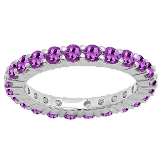 14k Gold 1ct TW Round Amethyst Wedding Stackable Band