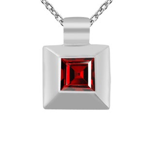 Orchid Jewelry 925 Sterling Silver 1 1/3 Carat Garnet Princess Cut Necklace