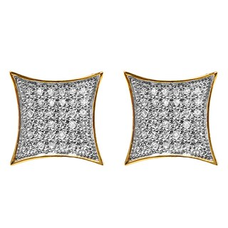 18k Gold over Silver Men's 1/6ct TDW White Diamond Kite Iced Stud Earrings (I-J, I2-I3)