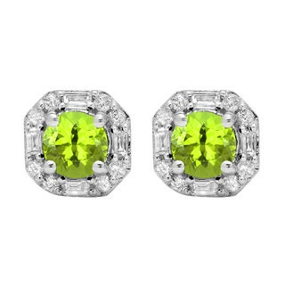 10k Gold 1 3/8ct TW Round-cut Peridot and Round Diamond Accent Stud Earrings (I-J, I1-I2 )