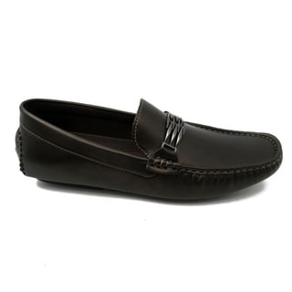 Mecca Men's Brown Faux Leather Slip-on Loafer Driver Shoes