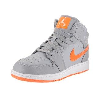 Nike Jordan Kids' Air Jordan 1 Mid Bg Orange, Grey Synthetic Leather Basketball Shoes