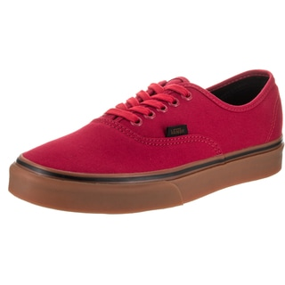 Vans Unisex Racing Red/Black Canvas Authentic Gum Waffle Outsole Skate Shoe