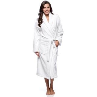Salbakos Bright White Shawl Collar Turkish Combed Cotton Terry Bath Robe (As Is Item)
