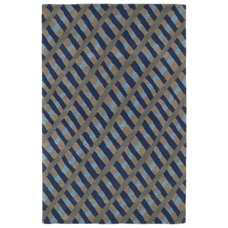 Hand-Tufted Artworks Blue Criss-Cross Rug (3'0 x 5'0) - 3' x 5'