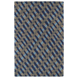 Hand-Tufted Artworks Blue Criss-Cross Rug (9'0 x 12'0)