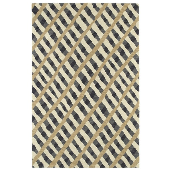 Hand-Tufted Artworks Grey Criss-Cross Rug (2'0 x 3'0) - 2' x 3'