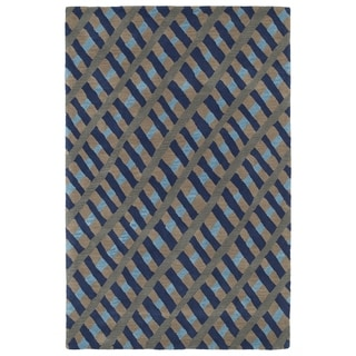Hand-Tufted Artworks Blue Criss-Cross Rug (8'0 x 10'0)