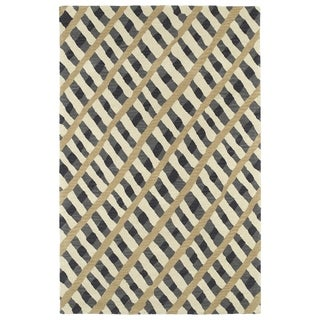 Hand-Tufted Artworks Grey Criss-Cross Rug (9'0 x 12'0) - 9' x 12'