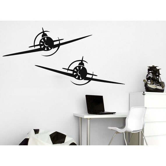 Biplane Decal Airplane Wall Decals Plane Stickers Nursery Playroom Boys Kids Baby Room Sticker Decal size  sc 1 st  Overstock.com & Shop Biplane Decal Airplane Wall Decals Plane Stickers Nursery ...