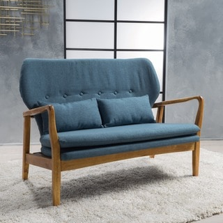 Spencer Mid-Century Fabric Loveseat Sofa with Accent Pillows by Christopher Knight Home