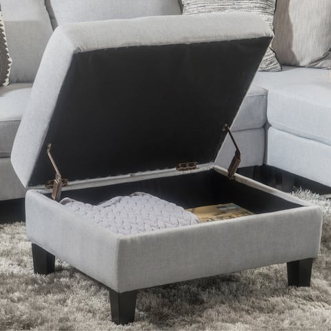Zahra Tufted Fabric Storage Ottoman by Christopher Knight Home