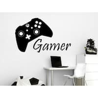 Game Controller Gamer Wall Decal Game Zone Wall Decals Vinyl Stickers Joystick  Sticker Decal size 22x30 Color Black