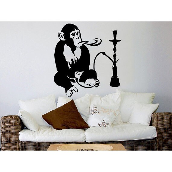 Hookah Wall Decal Relax Arabic Wall Decals Monkey Vinyl Sticker Decal Size  22x26 Color Black