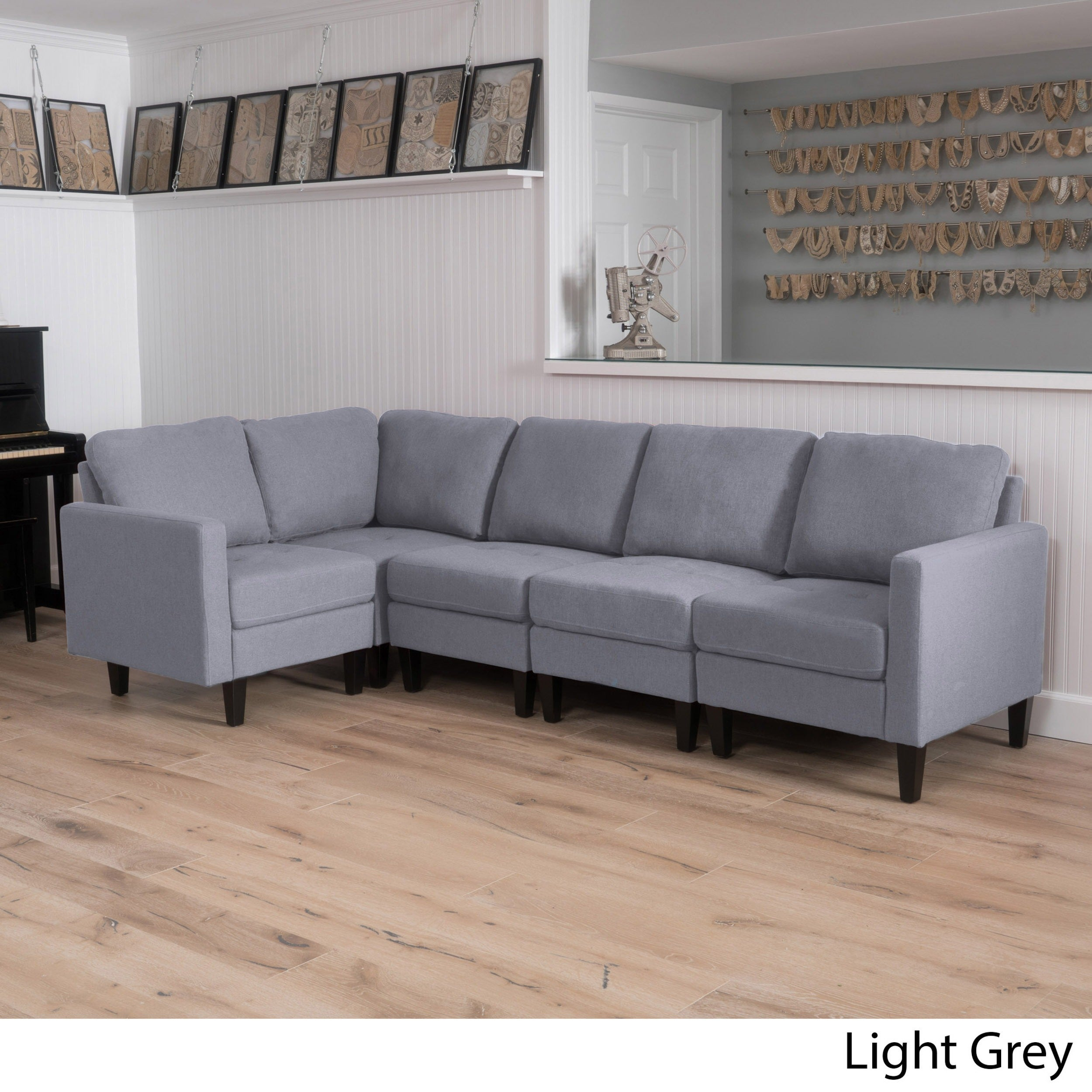 Sectional Gray Sofa Set: Sectional Sofa Set Elegant Separate Pieces Lockable Fabric