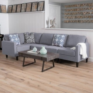 Contemporary gray living room furniture Cool Small Zahra 5piece Fabric Sofa Sectional By Christopher Knight Home Jarons Buy Grey Modern Contemporary Sofas Couches Online At Overstock