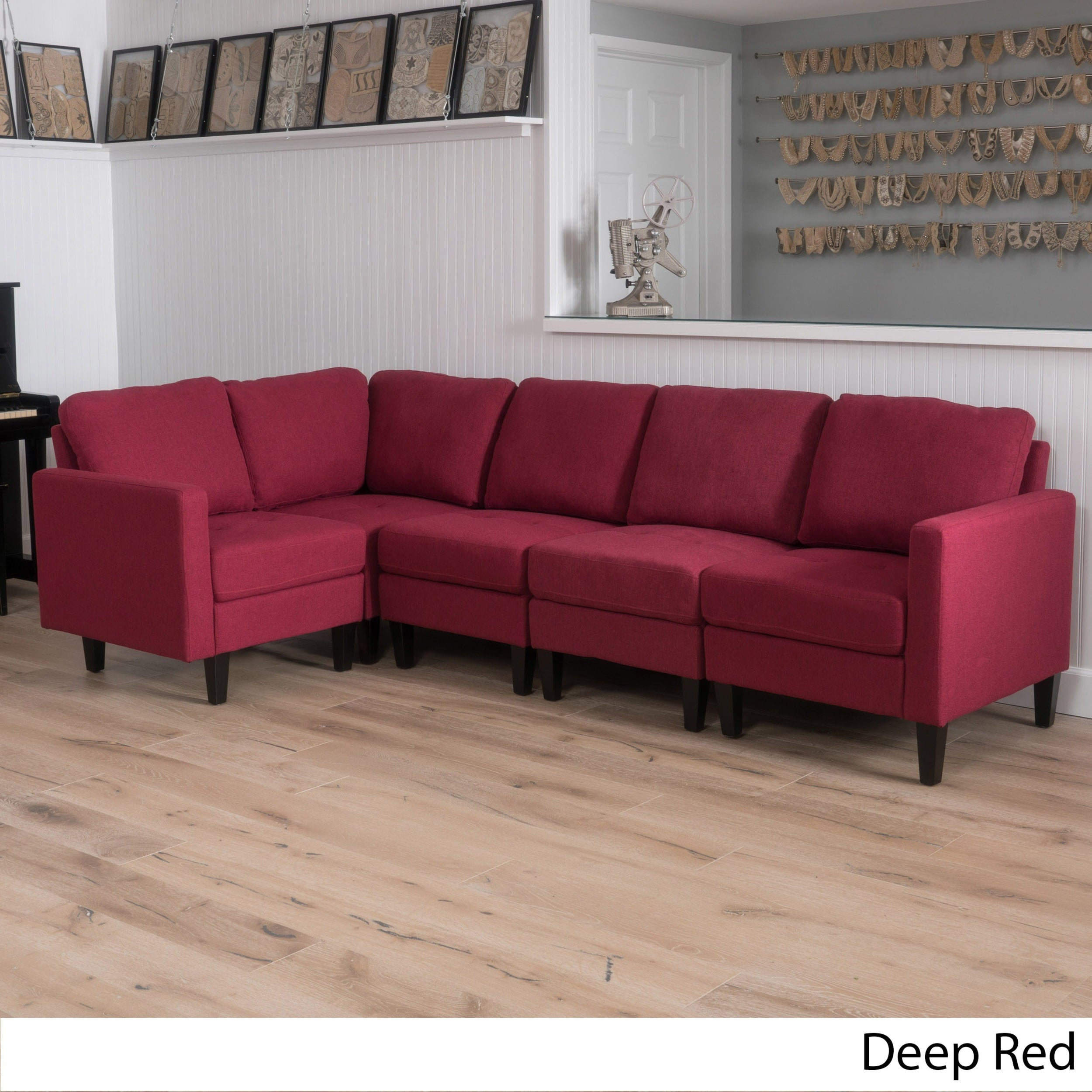 Zahra 5 Piece Fabric Sofa Sectional By Christopher Knight Home (Option:  Deep Red