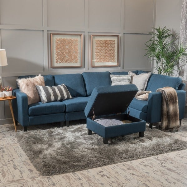 Zahra 6-piece Fabric Sofa Sectional with Storage Ottoman by Christopher Knight Home : sectional with storage - Sectionals, Sofas & Couches