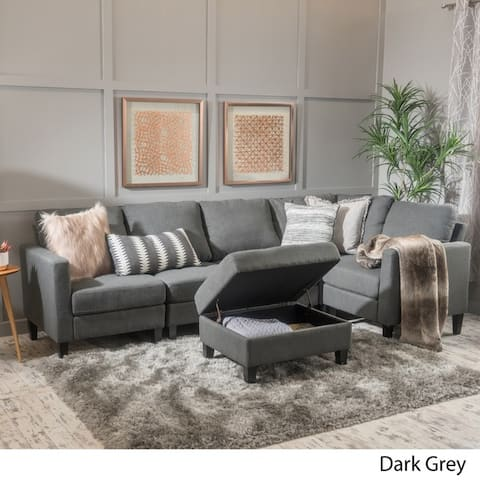Zahra 6-piece Fabric Sofa Sectional with Storage Ottoman by Christopher Knight Home