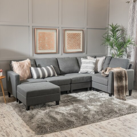 Zahra 6-piece Fabric Sofa Sectional with Ottoman by Christopher Knight Home