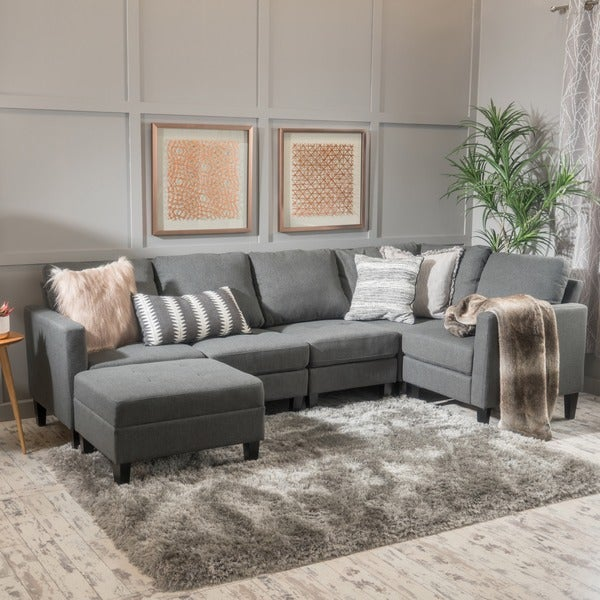 Zahra 6-piece Fabric Sofa Sectional with Ottoman by Christopher Knight Home : sectional ottoman - Sectionals, Sofas & Couches