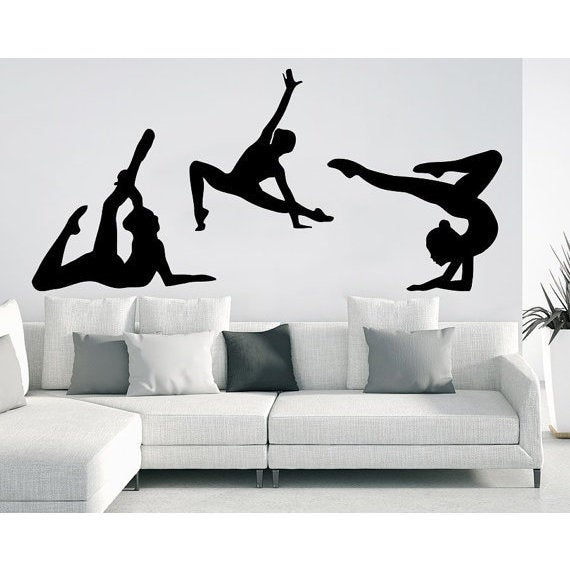 Gymnast Wall Decals Sport Girl Gymnastics Dance Studio Decal Home Design  Interior Sticker Decal Size 48x65