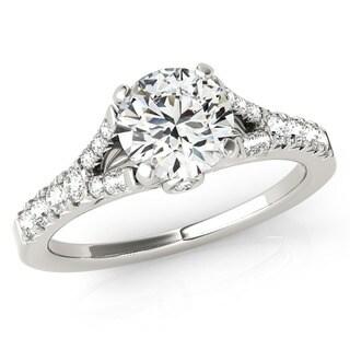 Transcendent Brilliance 14k Gold 1 1/10ct TDW White Diamond Graduated Split Shank Engagement Ring (F-G, VS1-VS2)