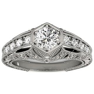 Transcendent Brilliance 14k Gold 1 1/4ct TDW White Diamond Antique Victorian Style Engagement Ring (F-G, VS1-VS2)