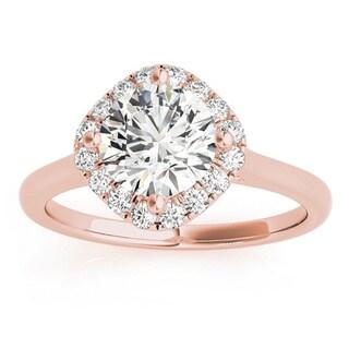 Transcendent Brilliance 14k Gold 7/8ct TDW White Diamond Square Halo Engagement Ring