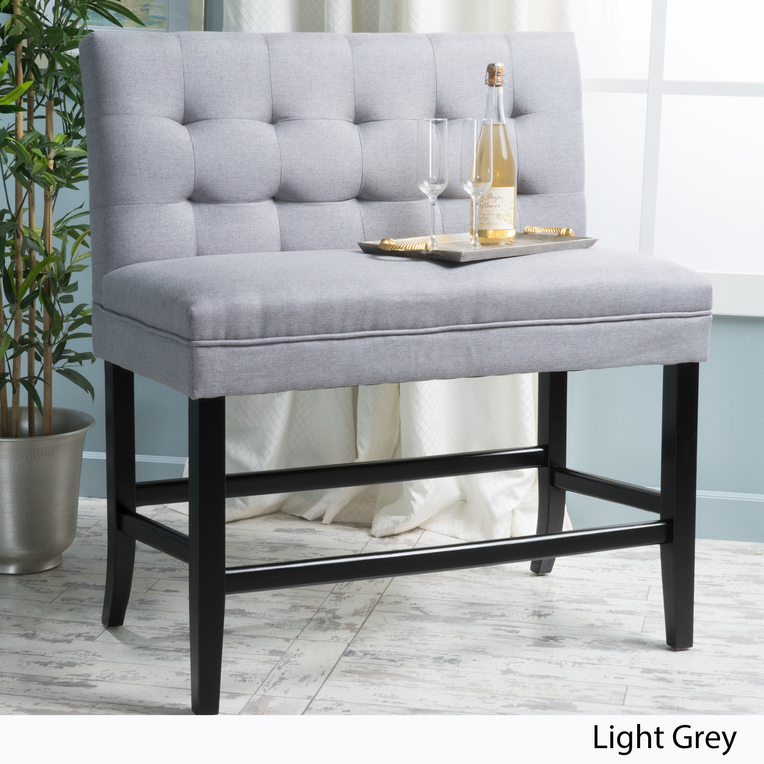 Kenan 29 Inch Tufted Fabric Barstool Dining Bench
