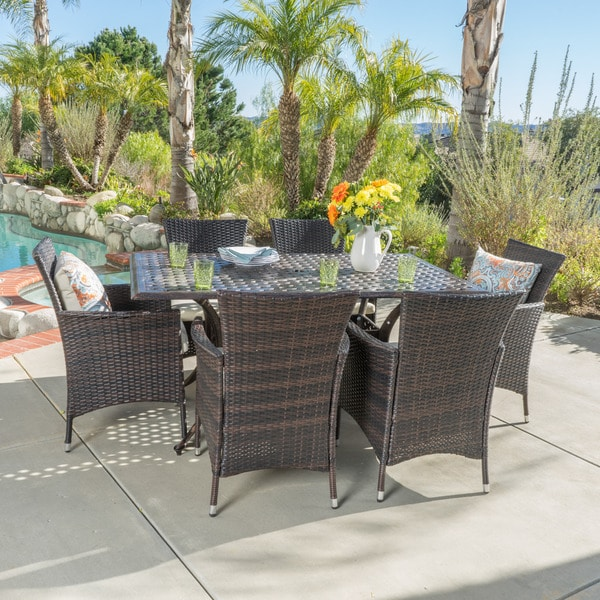 madison outdoor 7 piece rectangle cast aluminum dining set with