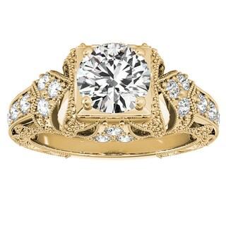 Transcendent Brilliance 14k Gold 1 1/4ct TDW White Diamond Vintage Style Engagement Ring
