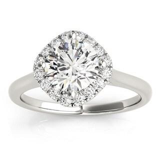 Transcendent Brilliance 14k Gold 1 1/10ct TDW White Diamond Square Halo Engagement Ring