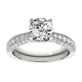 Transcendent Brilliance 14k Gold 1 1/2ct TDW White Diamond Antique Style Engagement Ring