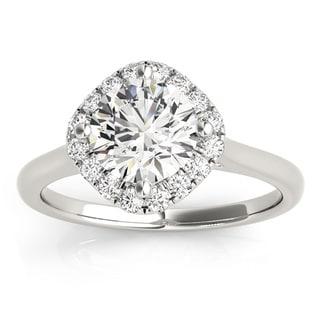 Transcendent Brilliance 14k Gold 1 1/2ct TDW White Diamond Square Halo Engagement Ring
