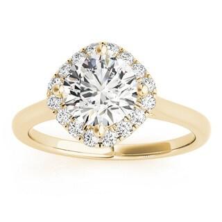 Transcendent Brilliance 14k Gold 1 1/4ct TDW White Diamond Square Halo Engagement Ring